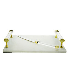 Classic Touch Marble Cheeseboard and Knife with acrylic Handles
