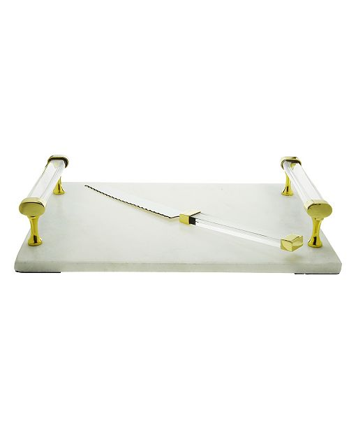 Classic Touch Marble Board and Knife with Acrylic Handles