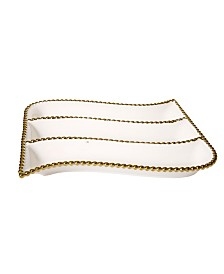 Classic Touch Porcelian 3 Divider cracker Dish with Gold Beaded Design