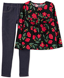Carter's Little & Big Girls 2-Pc. Top & Denim Leggings Set