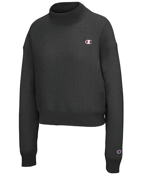 7e40792cba85 Champion Mock-Neck Cropped Sweatshirt   Reviews - Tops - Women - Macy s