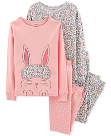 Carter's Little & Big Girls Bunny & Floral-Print Cotton Pajamas