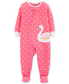 Carter's Toddler Girls Heart-Print Swan Footed Pajamas