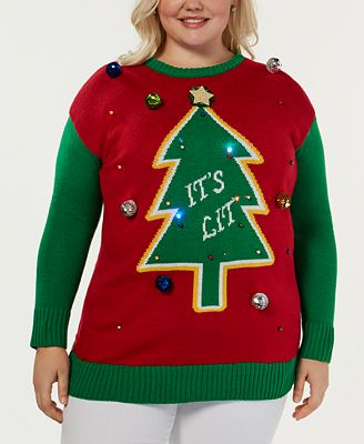 Planet Gold Trendy Plus Size Its Lit Light Up Christmas Sweater