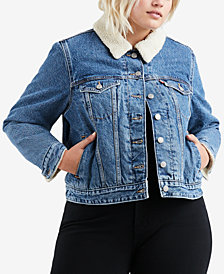 Levi's® Plus Size Cotton Fleece-Trimmed Trucker Jacket
