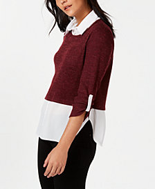NY Collection Two-Piece Shirt Sweater
