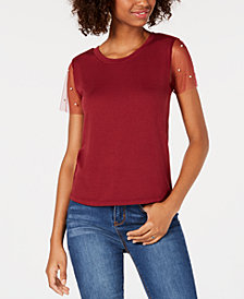 Crave Fame Juniors' Sheer-Sleeve Embellished Top
