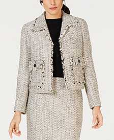 Kasper Tweed Open-Front Jacket