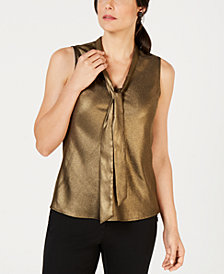 Kasper Metallic Tie-Neck Top