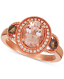 Le Vian Morganite (1 1/3 ct.t.w.) and Diamond (1/4 ct.t.w.) Ring in 14K Rose Gold