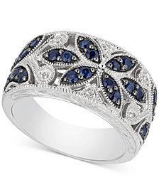 Sapphire (7/8 ct. t.w.) and Diamond Accent Antique Band in Sterling Silver