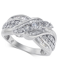 Diamond Overlap Cluster Ring (1 ct. t.w) in 14k Gold or White Gold