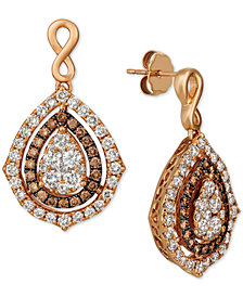 Le Vian® Nude Diamonds® & Chocolate Diamonds® Fancy Drop Earrings (2-1/2 ct. t.w.) in 14k Rose Gold