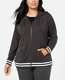 Ideology Plus Size Varsity-Stripe Zip Hoodie, Created for Macy's