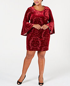 Robbie Bee Plus Size Velvet Burnout Sheath Dress