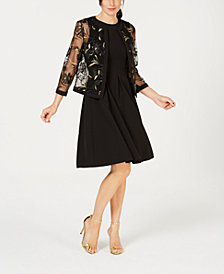 Kasper Embroidered Jacket & Stretch Crepe Dress