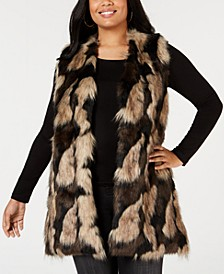 Plus Size Faux-Fur Open-Front Vest