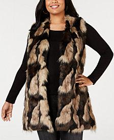 Joseph A Plus Size Faux-Fur Open-Front Vest