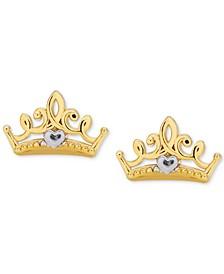 Children's Princess Crown Stud Earrings in 14k Gold