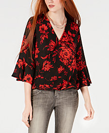 BCX Juniors' Floral-Print Bell-Sleeve Top