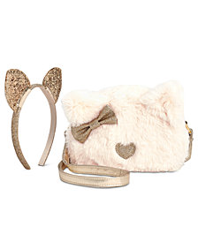 On the Verge Little & Big Girls 2-Pc. Cat Headband & Faux-Fur Bag Set