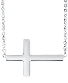 "East West Cross 18"" Pendant Necklace in Sterling Silver"