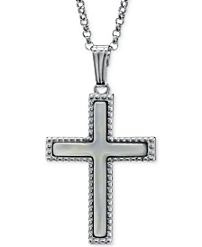 """Mother-of-Pearl Beaded Cross 18"""" Pendant Necklace in Sterling Silver"""