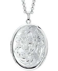 "Engraved Oval Double Frame Locket 30"" Pendant Necklace in Sterling Silver"