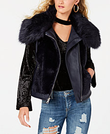 GUESS Sleeveless Posh Faux-Fur Vest