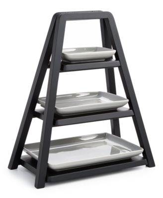 Modern Wood 3-Tier Server with Porcelain Plates, Created for Macy's
