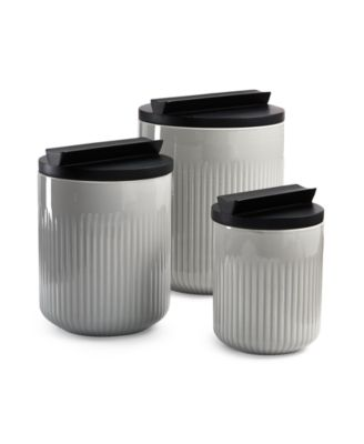 Modern Porcelain Canister Set with Black Wood Lids, Created for Macy's