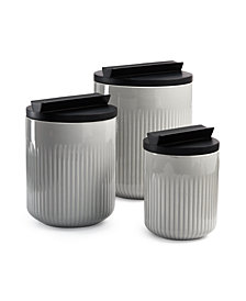 Hotel Collection Modern Porcelain Canister Set with Black Wood Lids, Created for Macy's