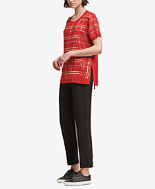 DKNY Sequined Plaid Top, Created for Macy's