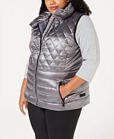 Calvin Klein Performance Plus Size Quilted Metallic Down Vest