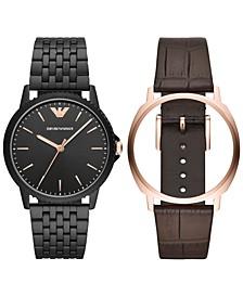 Men's Black Stainless Steel Bracelet & Brown Leather Strap Interchangeable Watch 41mm Set