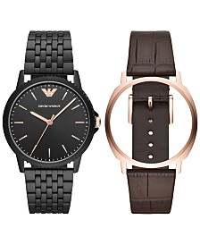 Emporio Armani Men's Black Stainless Steel Bracelet & Brown Leather Strap Interchangeable Watch 41mm Set
