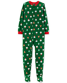 Carter's Little & Big Boys Holiday-Print Footed Pajamas