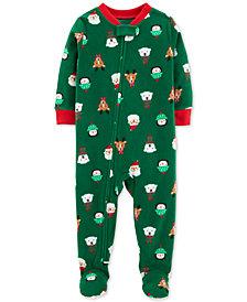 Carter's Toddler Boys Holiday-Print Footed Pajamas
