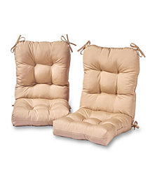 Set of 2 Outdoor Seat and Back Chair Cushions