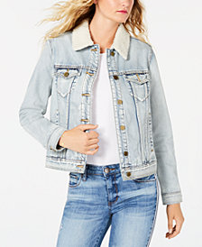 Articles of Society Liz Fleece-Trim Denim Jacket