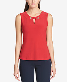 Tommy Hilfiger Embellished Split-Neck Top