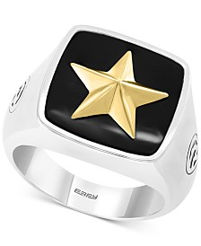 EFFY® Men's Onyx (15-1/2mm x 15-1/3mm) Star Ring in Sterling Silver & 18k Gold Plate