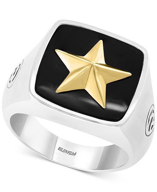 60ef7083e2961 EFFY® Men's Onyx (15-1/2mm x 15-1/3mm) Star Ring in Sterling Silver & 18k  Gold Plate