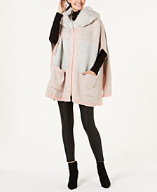 Steve Madden Undercover Faux-Fur Hooded Poncho
