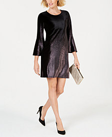 Alfani Petite Foil Velvet A-Line Dress, Created for Macy's