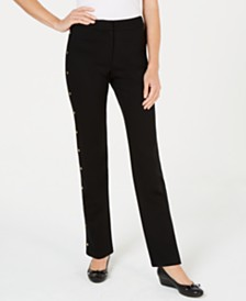 JM Collection Side-Trim Ponte-Knit Pants, Created for Macy's