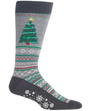 HOT SOX Men'S Tree Crew Socks in Sweatshirt Grey Heather