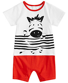 First Impressions Baby Boys Zebra-Print Cotton Romper, Created for Macy's