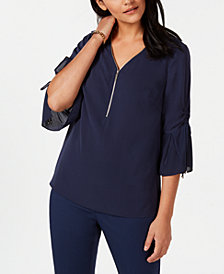 JM Collection Zip-Neck Ruched-Sleeve Top, Created for Macy's