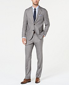Men's Modern-Fit Light Gray Sharkskin Suit